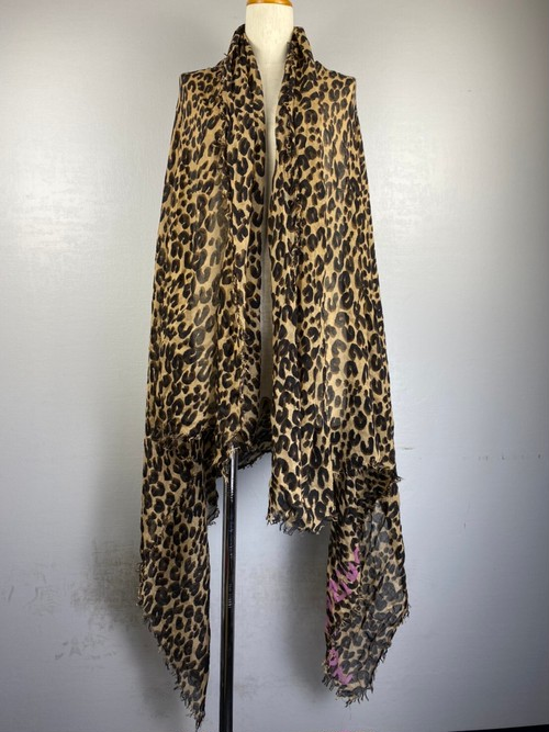 .LOUIS VUITTON LEOPARD PATTERNED CASHMERE SILK LARGE SIZE SHAWL MADE IN ITALY/ルイヴィトンレオパード柄カシミヤシルク大判ショール 2000000043104