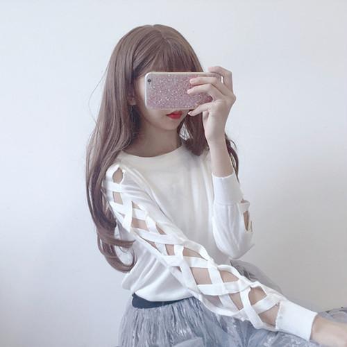 【即納♡】lace up sleeve long t shirts 2913