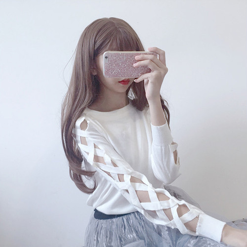 ♡lace up sleeve long t shirts 2913