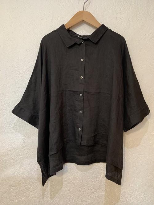 nachukara/リネンワイド5分袖シャツ  チャコール