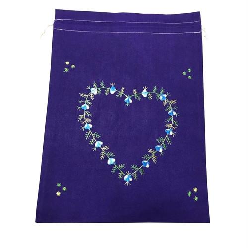 ベトナム 巾着 刺繍 コットン巾着 大サイズ ベトナム雑貨