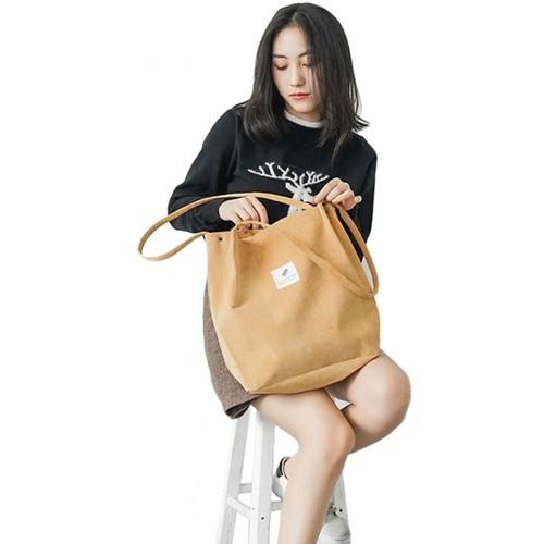 Solid Corduroy Shoulder Bag Shopping Bag Canvas Casual Tote Handbag (HMS99-6753668)