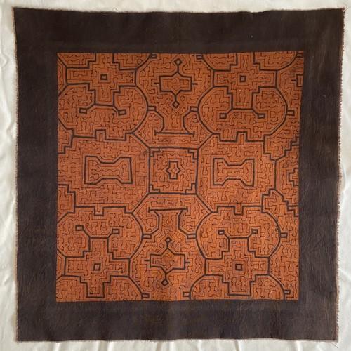 泥染め 59x56cm-1 中型 シピボ族の工芸 天然染め 先住民族の伝統工芸 AAA