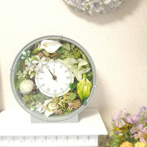 【展示品】フラワー時計グレー(送料込)