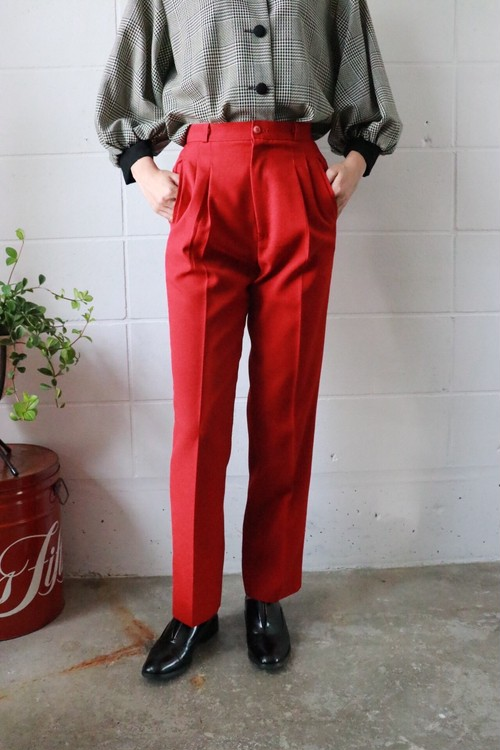 red tapered pants