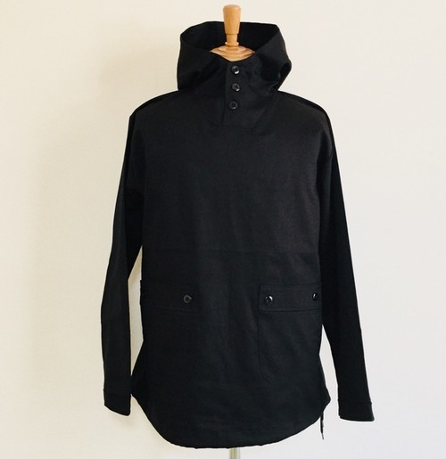Glossy twill Anorak Jacket Black