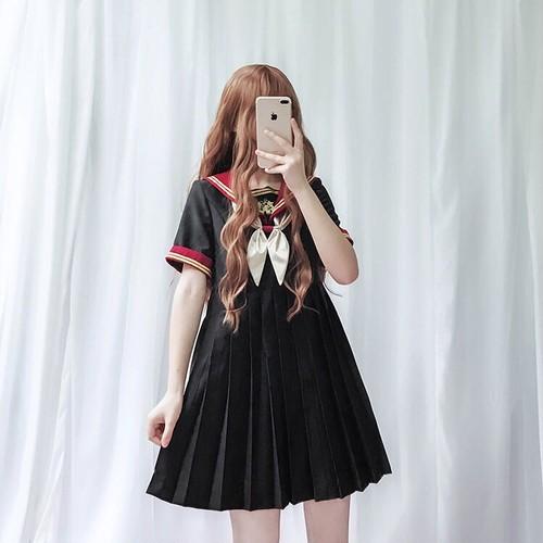 【ワンピース】日系学園風リボン付き清新ハイウエストカジュアルワンピース