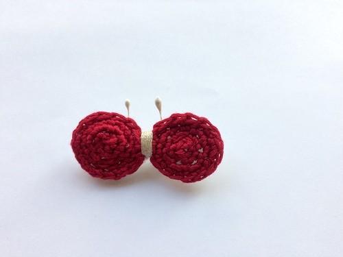 手編み*ちょうちょブローチ(赤)