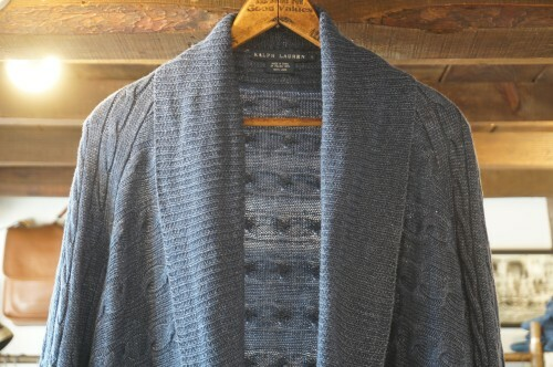Ralph Lauren indigo linen cable knit shawl Cardigan