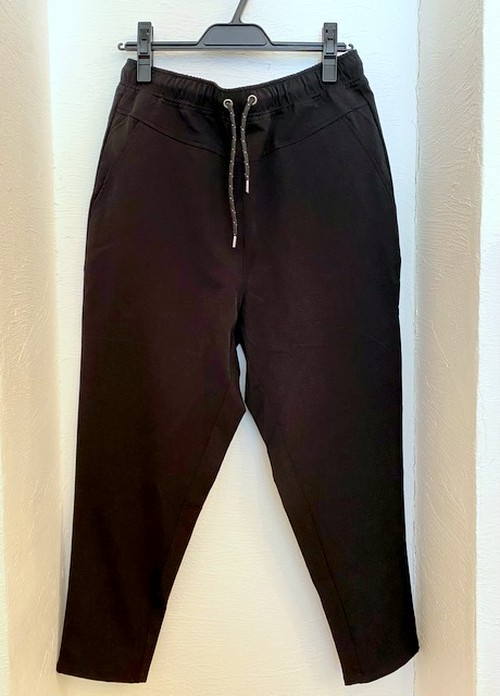 Stretch Nylon Ankle Tapered Pants Black
