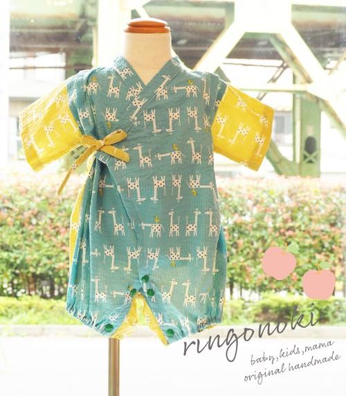 キリン柄♡涼しい夏 甚平風ベビーロンパース(黄色×水色)