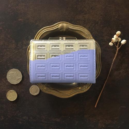 訳あり:革の紫陽花色チョコ がま口カードケース兼財布(銀の包み紙)
