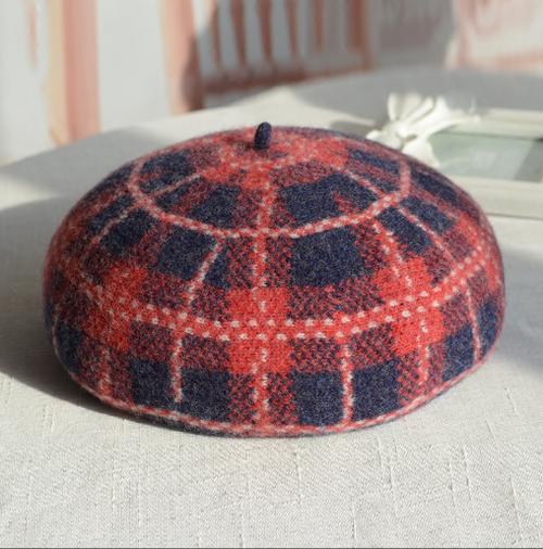 【送料無料】お洒落小物♫チェック柄ベレー帽 カラー豊富