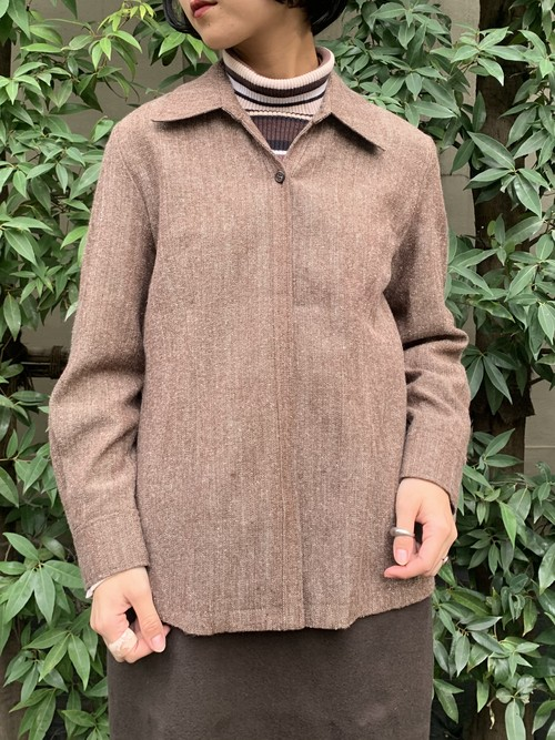 (TOYO) open collar wool l/s shirt