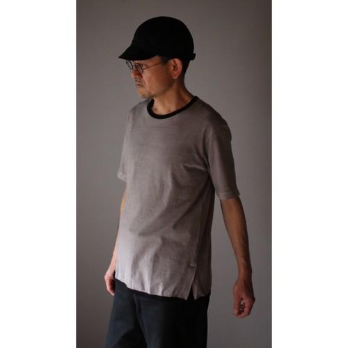 THE HINOKI オーガニックコットン リンガーTシャツーベンガラ染 Gray x Black #TH20S-33GY