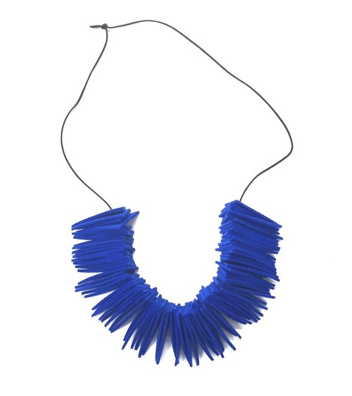NICK NEEDLES Felt Necklace Triangle Blue
