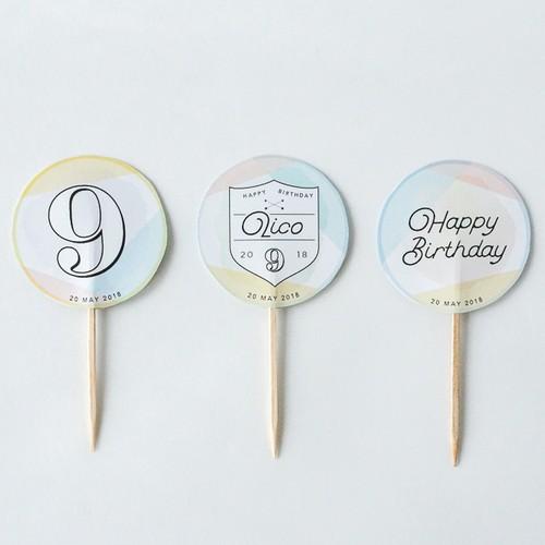 【誕生日パーティーに!】名入れバースデーピック <PASTEL>(3本セット)