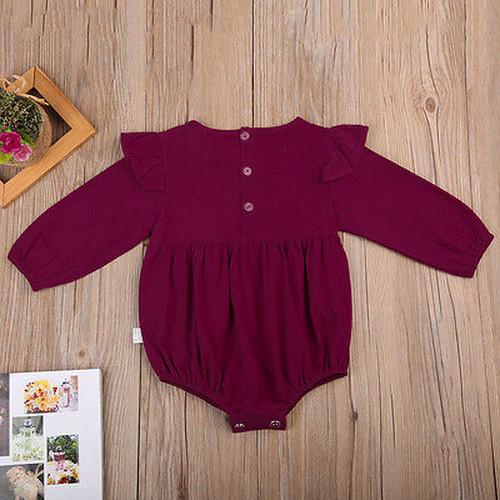 ロングスリーブコットンロンパース (レッド) 70 80 サイズ 赤ちゃん 女の子 ベビー服 秋 キッズ かわいい