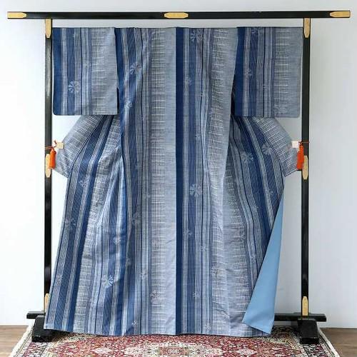 1637 藍染め◆絞り紬