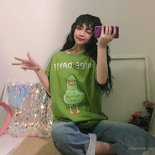 【トップス】カートゥーンプリント春夏韓国系スウィートカジュアル半袖Tシャツ