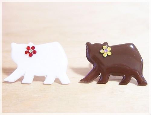 乙女なクマさんリング(シロクマ&クマ)