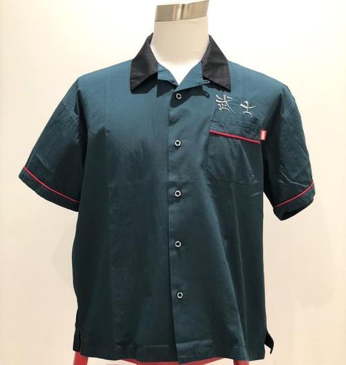武士開衿刺繍シャツ - D.GREEN