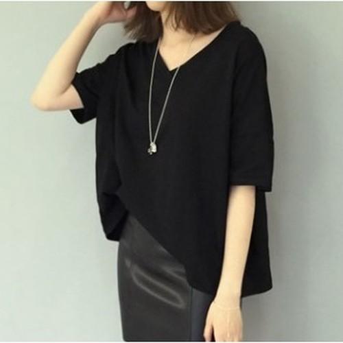 ドルマンスリーブ ブラック 無地 Vネック ゆったり半袖Tシャツ N146