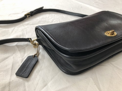 """AMERICA 1990's OLD COACH """"Black Leather"""" 2WAY bag"""