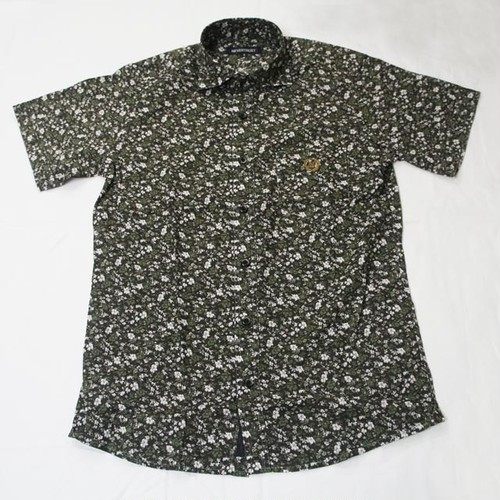 FLOWER PRINT HORIZONTAL COLLARED SS SHIRT