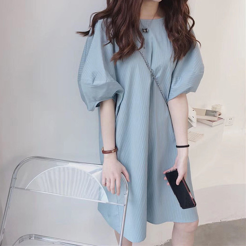 【dress】人気アイテム ! 大きいサイズカジュアルパフスリーブワンピース2色 M-0116