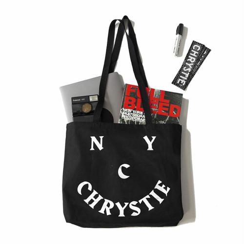 CHRYSTIE NYC / CHRYSTIE SMILE LOGO TOTEBAG -BLACK-