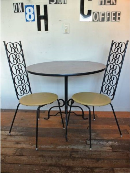 60's HOLLYWOOD Dining Set, 2 chairs & table