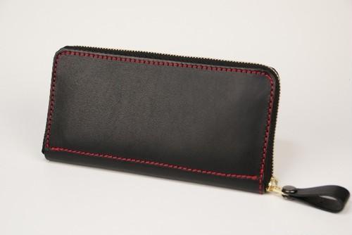 ヒロ様 オーダー品 ラウンドファスナー 牛革ヌメ ブラック Leather wallet