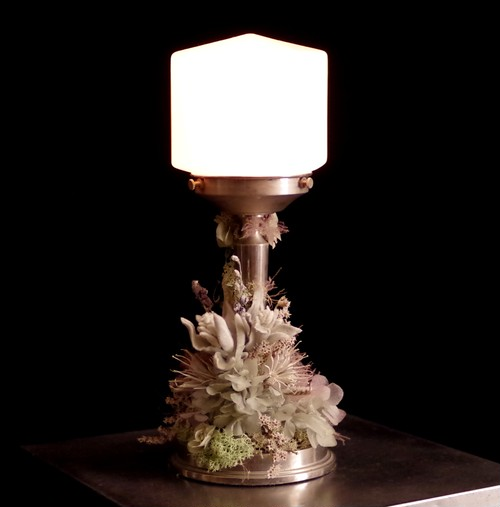 Silver shabby lamp vintage