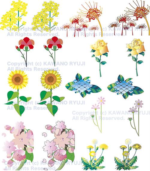 花のカット集01_ベクターイラスト販売