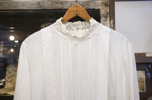 90's lace stand collar jacquard Blouse
