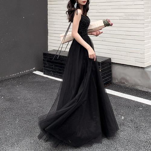 キャミロングドレス きらきらスタッズトップ チュールスカート