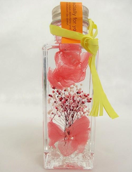 【送料無料】310 水晶 花のhiro's japan ハーバリウム 紫陽花 ミニかすみ草 ロングボトル ピンク Sサイズ 角瓶 水晶入り 310