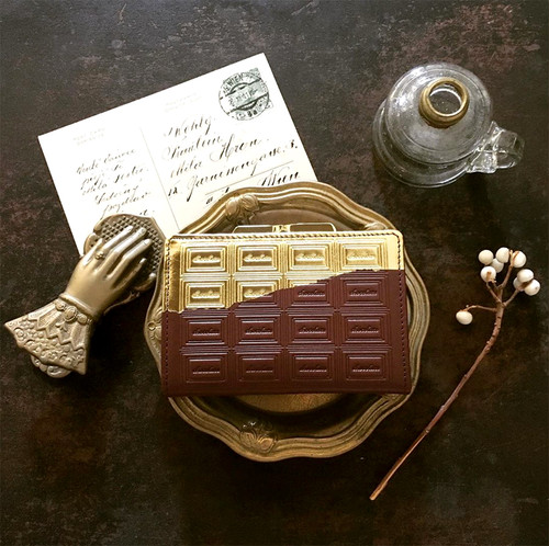 訳あり:革のチョコ がま口カードケース兼財布 スイート(金の包み紙)