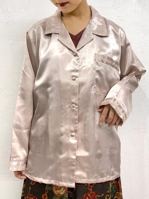 (TOYO) metallic l/s open collar embroidery shirt