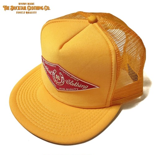 "DUCKTAIL CLOTHING TRUCKER CAP ""HORSESHOE"" YELLOW ダックテイル クロージング メッシュキャップ"