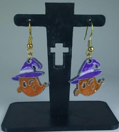 ハロウィン 帽子をかぶったスマイルおばけ ピアス&イヤリング 「オレンジ」