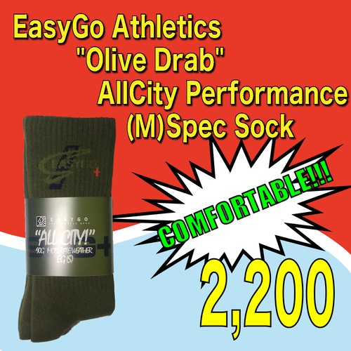 "EasyGo Athletics    ""Olive Drab"" AllCity Performance (M)Spec Sock"