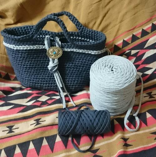 手編みオルテガバッグ コンチョ ズパゲッティ トートバッグ
