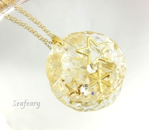 【送料無料】オルゴナイト天然石シトリンとおほしさまのネックレス