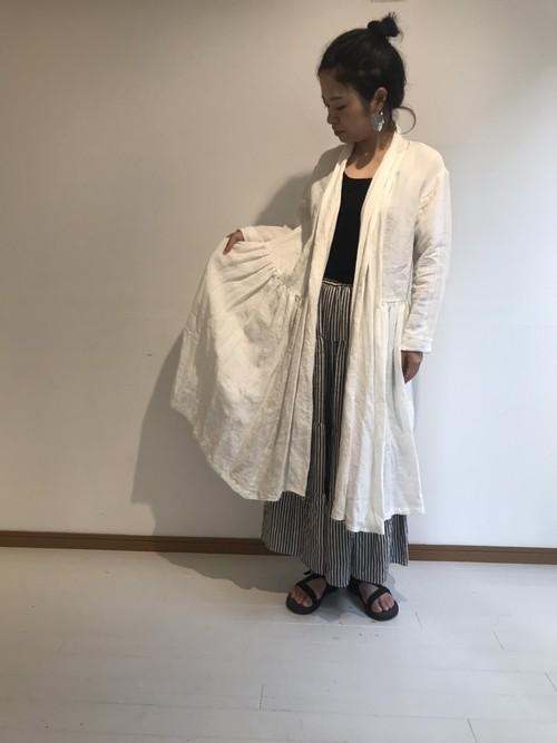 【受注製作】ショールカラーコートワンピース ベルギーリネン カラー:white