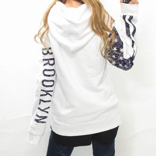 Brooklyn ペイズリー柄ロゴ刺繍 星条旗スター刺繍 パーカー ブランド ホワイト