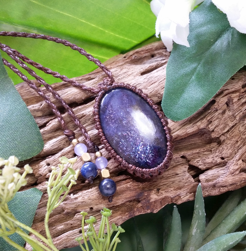 *Milkyway* Iolite Sunstone Macrame Necklace