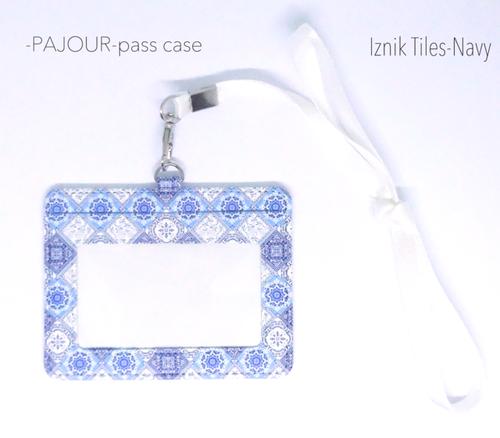 pajour ) イズニックタイル柄 パスケース( ネイビー )( 濃紺 )