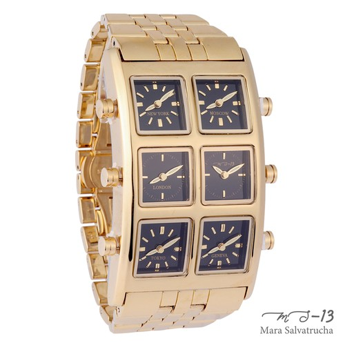 【MS-13】腕時計 6TIME ZONE シックスタイムゾーン (カラー:ゴールド×ブラック)[限定100本のみ]